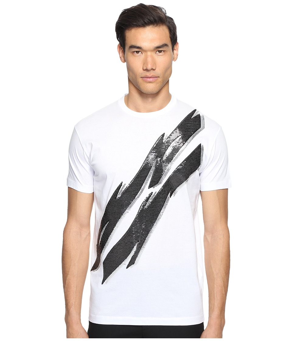 DSQUARED2 - Glam Rock Lightning Bolt T-Shirt (White) Men's T Shirt