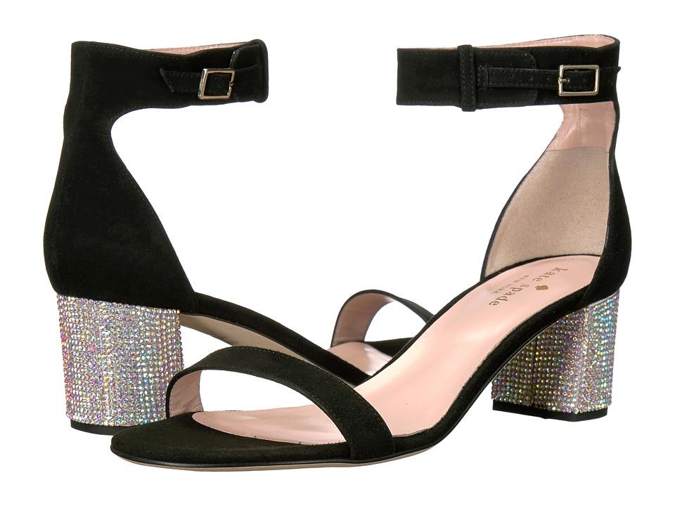 Kate Spade New York - Menorca (Black Kid Suede/AB Stone Heel) Women's Shoes