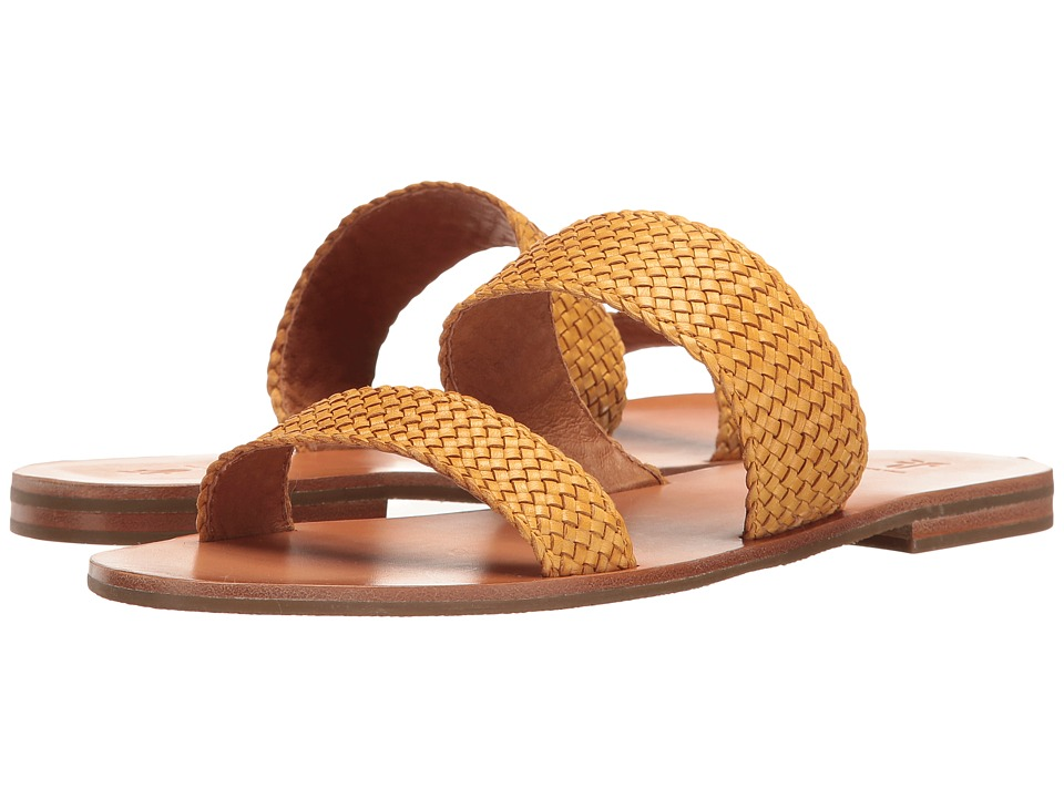 Frye - Ruth Woven Slide (Yellow Polished Soft Full Grain) Women's Sandals