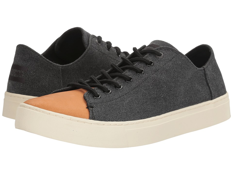 TOMS - Lenox Sneaker (Black Washed Canvas/Leather) Men's Lace up casual Shoes