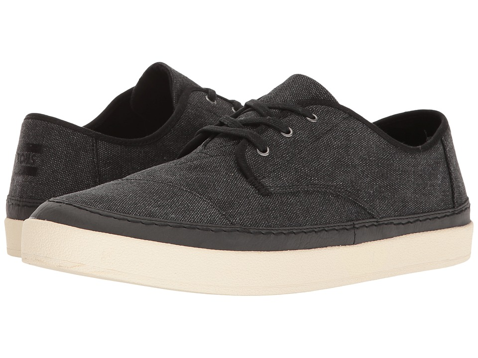 TOMS Paseo Sneaker (Black Washed Canvas/Rand) Men