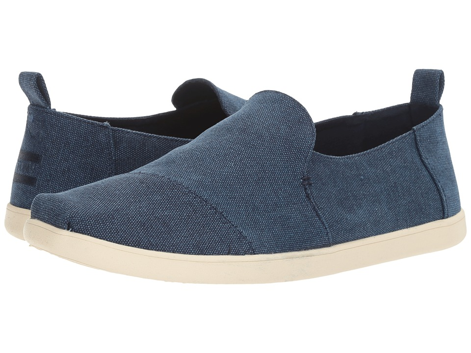 TOMS - Deconstructed Alpargata (Navy Washed Canvas) Men's Slip on Shoes
