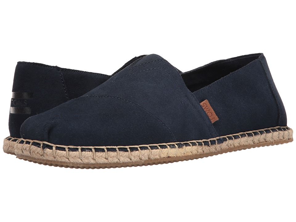 TOMS - Seasonal Classics (Navy Suede/Blanket Stitch) Men's Slip on Shoes
