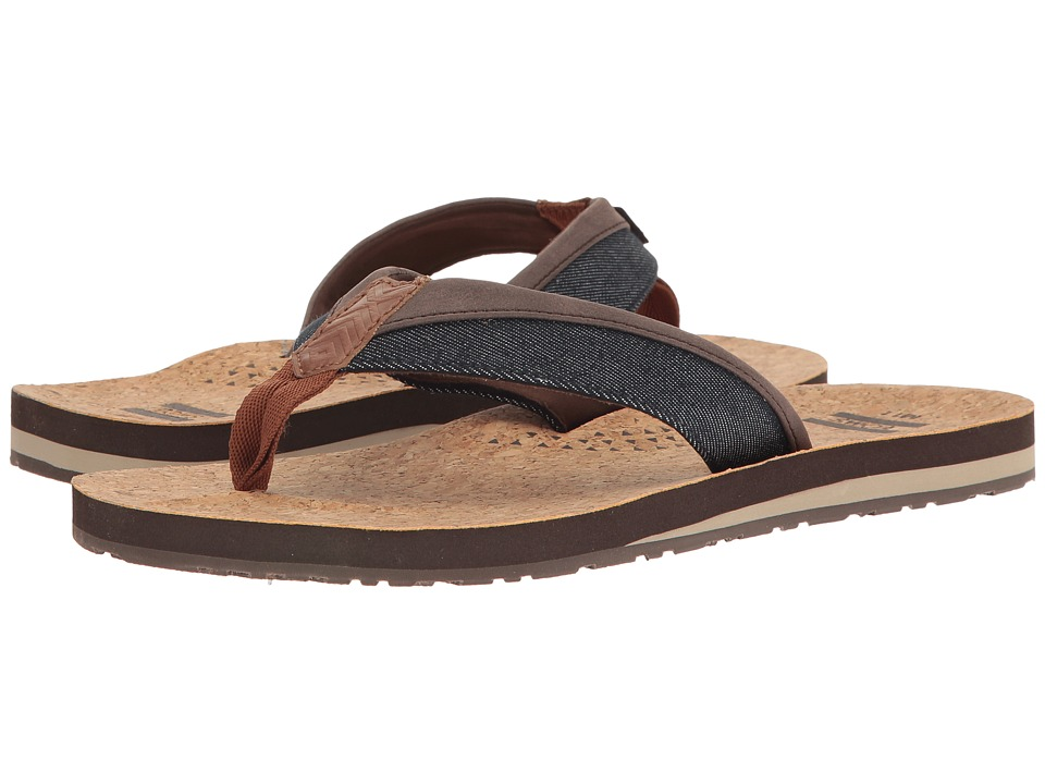 TOMS - Santiago Flip Flop (Navy Denim/Cork) Men's Sandals