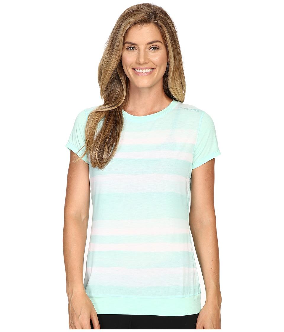 Brooks - Run-Thru Short Sleeve Top (Surf Scape) Women's Short Sleeve Pullover