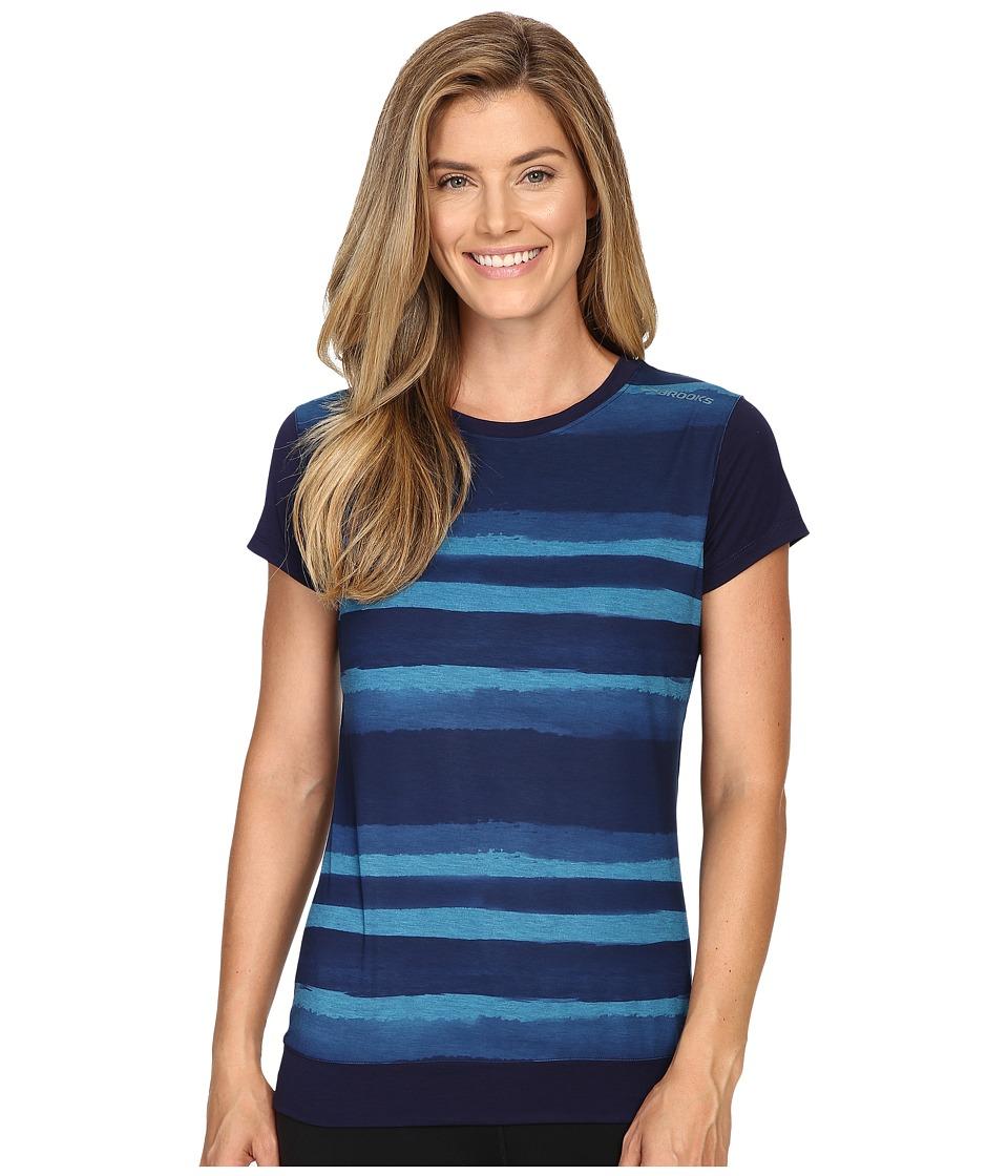 Brooks - Run-Thru Short Sleeve Top (River Scape) Women's Short Sleeve Pullover