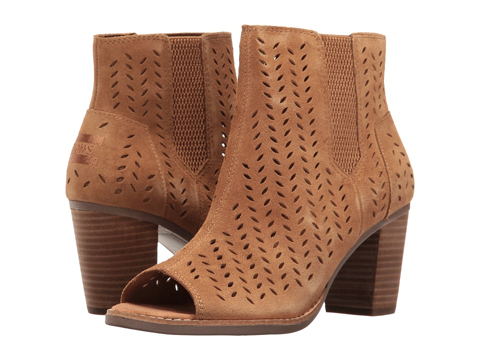 TOMS - Majorca Peep Toe Bootie (Toffee Suede Perforated Leaf) Women's Toe Open Shoes