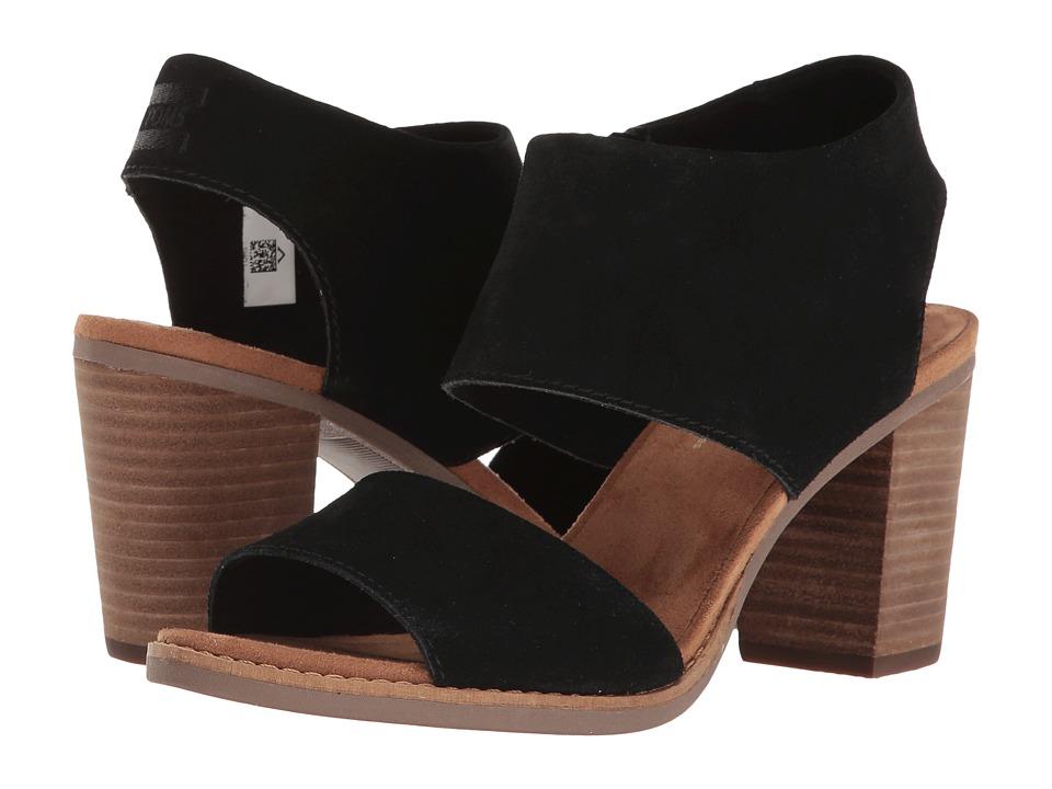 TOMS - Majorca Cutout Sandal (Black Suede) Women's Shoes