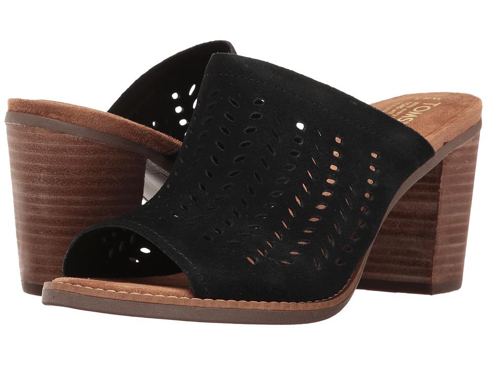 TOMS Majorca Mule Sandal (Black Suede Perforated Leaf) Women