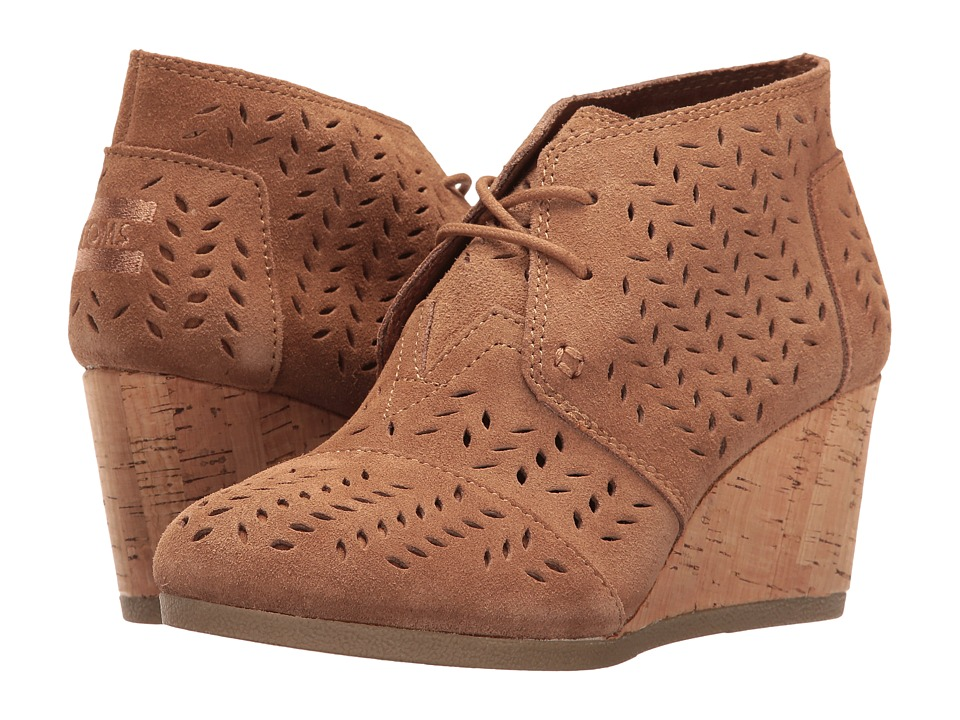 TOMS Desert Wedge Bootie Toffee Suede Perforated Leaf Wedge Shoes