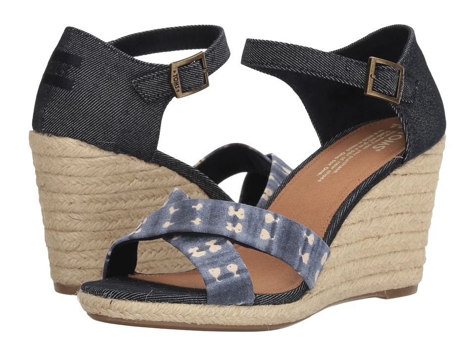 TOMS - Sienna Wedge (Navy Batik Stripe/Denim) Women's Wedge Shoes
