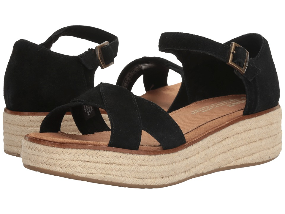 TOMS - Harper Wedge (Black Suede) Women's Wedge Shoes