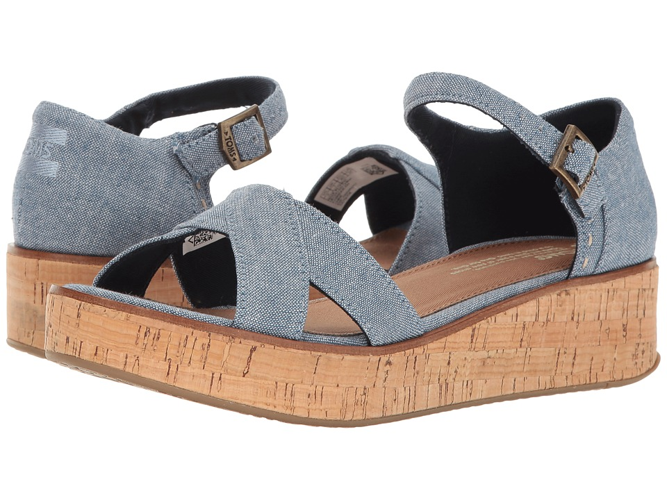 TOMS - Harper Wedge (Blue Slub Chambray) Women's Wedge Shoes