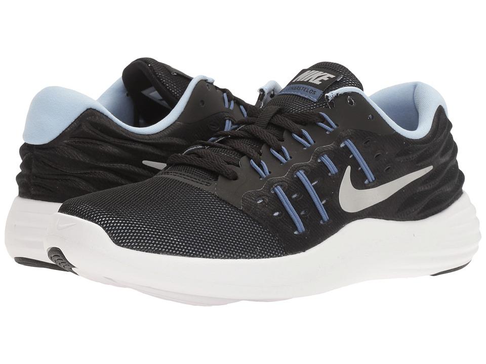 Nike - Lunarstelos (Black/Metallic Silver/Blue Moon/Aluminum) Women's Running Shoes