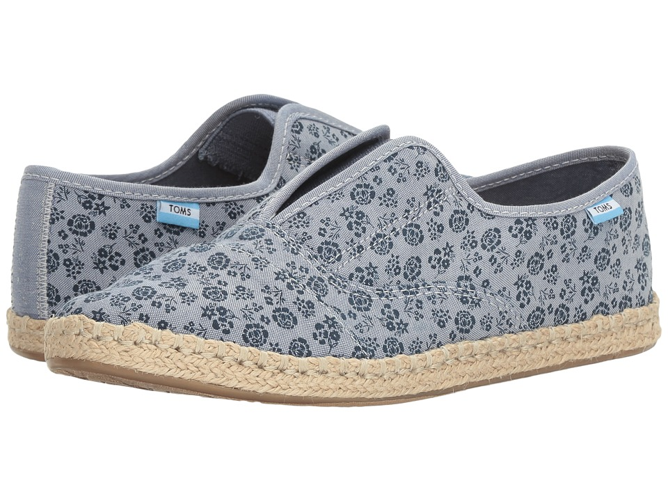 TOMS - Palmera Slip-On (Navy Ditsy Floral) Women's Flat Shoes