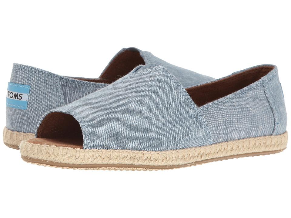TOMS - Alpargata Open Toe (Blue Slub Chambray) Women's Flat Shoes