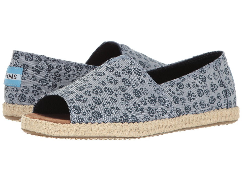 TOMS - Alpargata Open Toe (Blue Ditsy Floral) Women's Flat Shoes