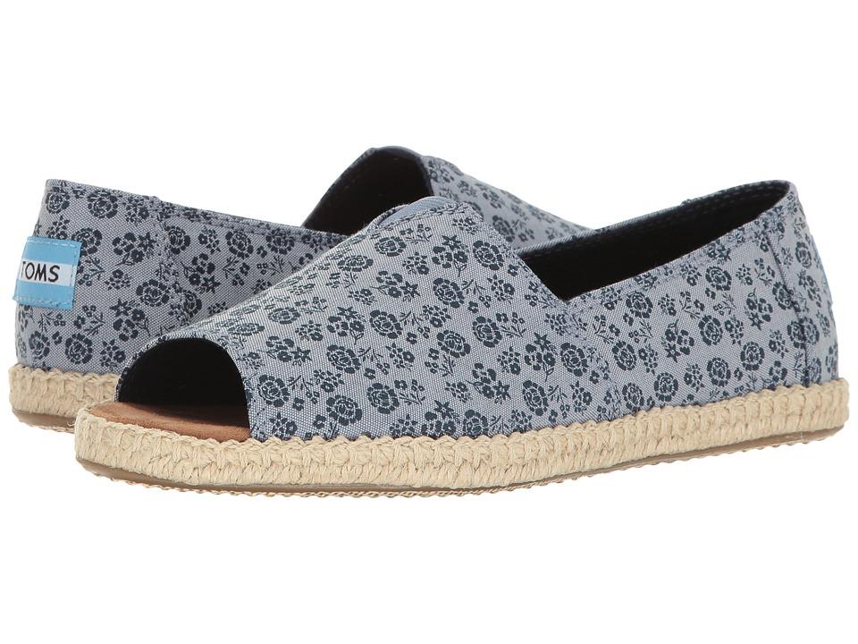 TOMS - Alpargata Open Toe (Blue Ditsy Floral) Women's Flat Shoes