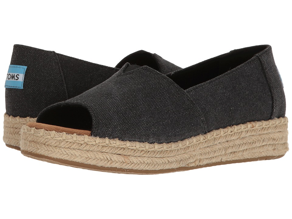 TOMS - Open Toe Platform Alpargata (Black Washed Canvas) Women's Toe Open Shoes