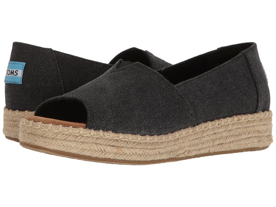 TOMS - Open Toe Platform Alpargata (Black Washed Canvas) Women's Toe Open Shoes