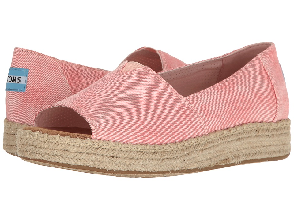 TOMS - Open Toe Platform Alpargata (Coral Washed Twill) Women's Toe Open Shoes