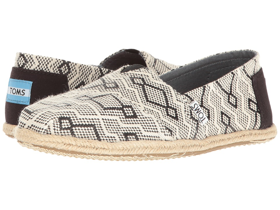 TOMS - Seasonal Classics (Black Diamond Jacquard Rope Sole) Women's Slip on Shoes