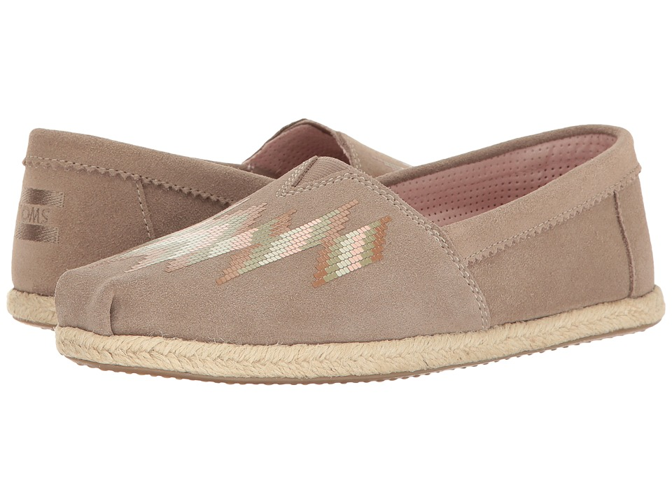 TOMS - Seasonal Classics (Desert Taupe Suede Zigzag Print) Women's Slip on Shoes