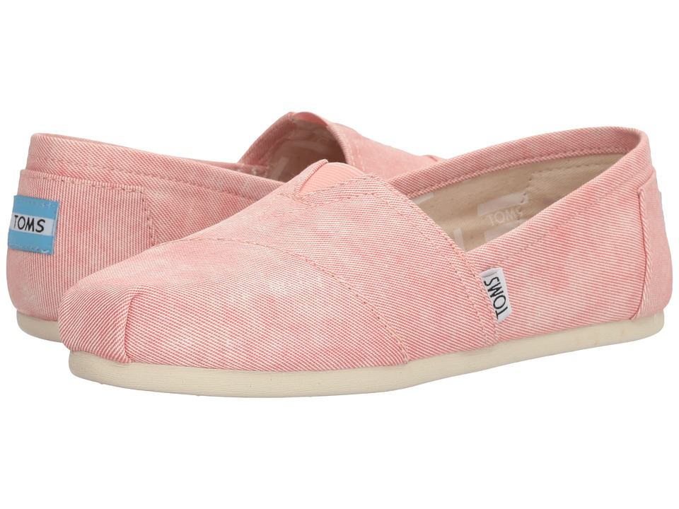 TOMS - Seasonal Classics (Coral Washed Twill) Women's Slip on Shoes