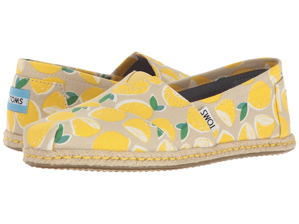 TOMS - Seasonal Classics (Yellow Lemons Rope Sole) Women's Slip on Shoes