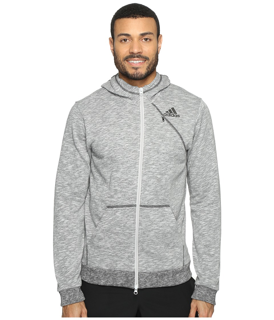adidas - Cross Up Full Zip Hoodie (Light Grey Heather Solid Grey/Black) Men's Sweatshirt
