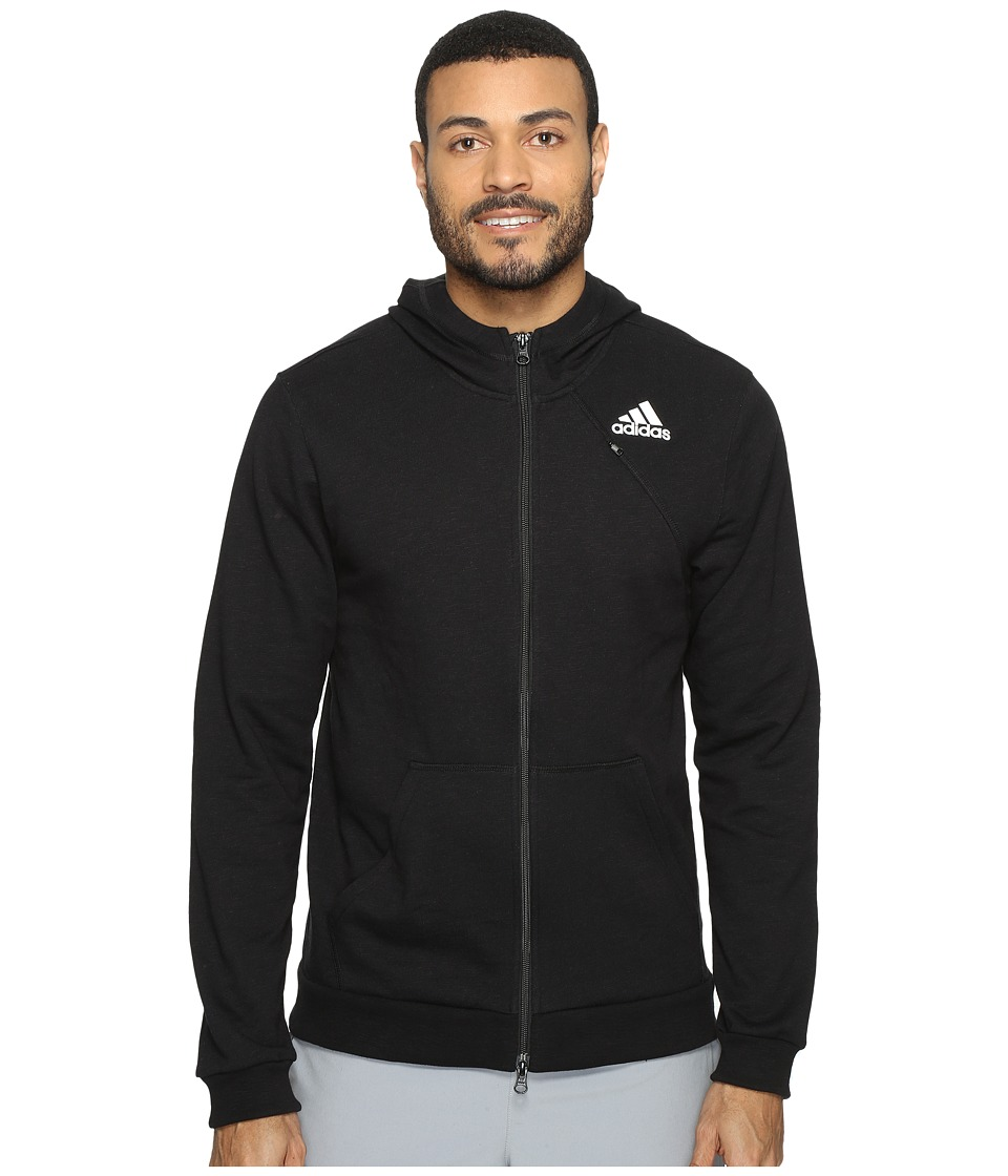 adidas - Cross Up Full Zip Hoodie (Black/Black) Men's Sweatshirt