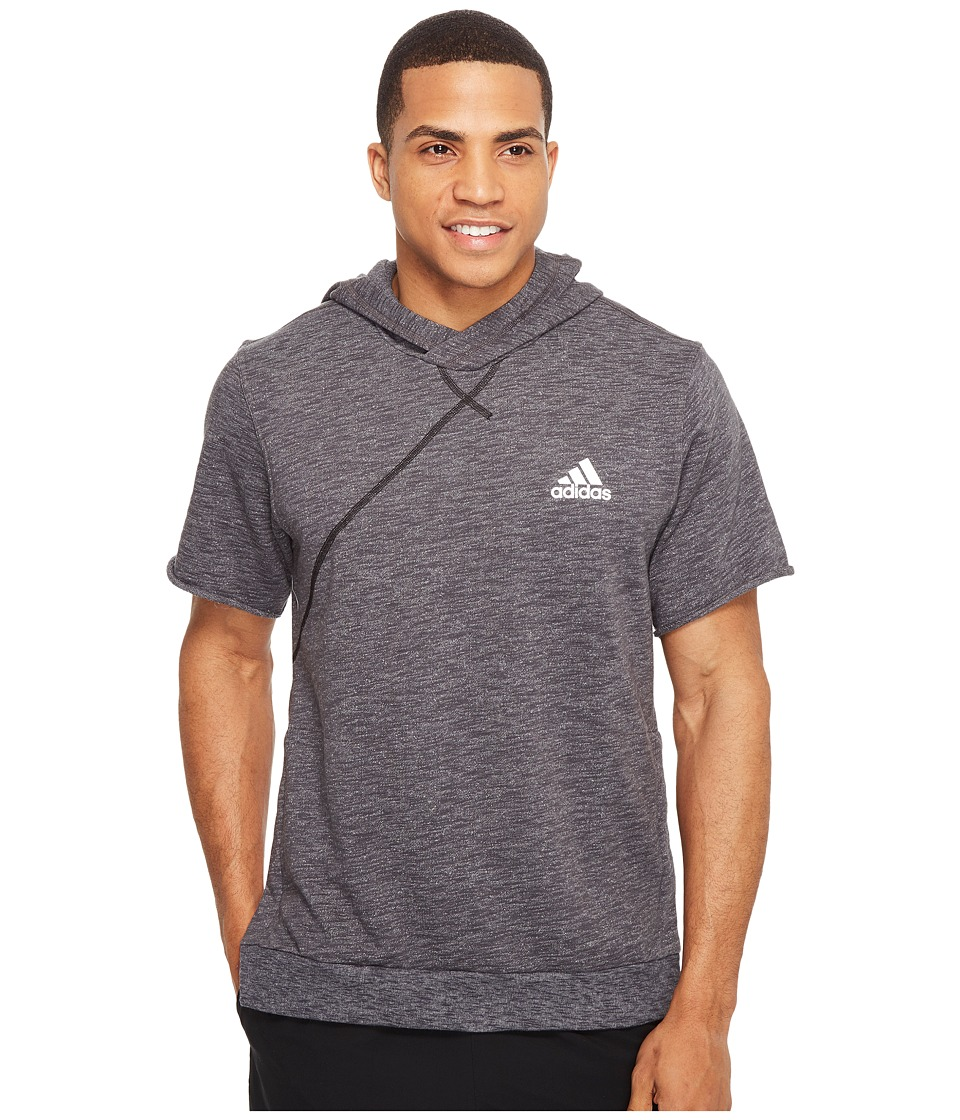 adidas - Cross Up Short Sleeve Hoodie (Utility Black/Medium Grey Heather Solid Grey) Men's Sweatshirt