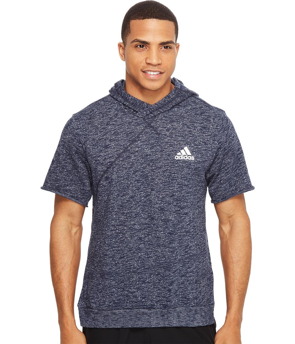 adidas - Cross Up Short Sleeve Hoodie (Collegiate Navy) Men's Sweatshirt