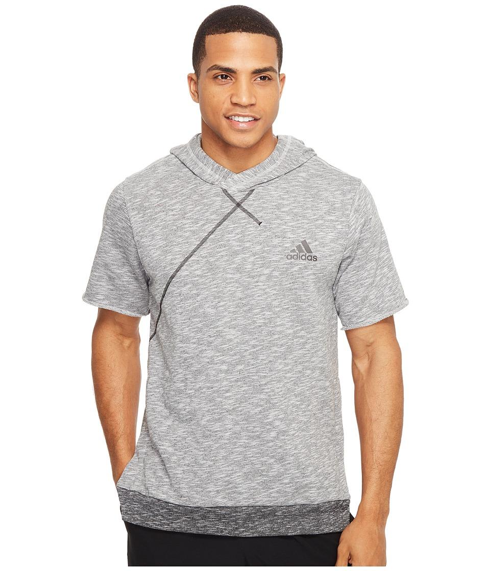 adidas - Cross Up Short Sleeve Hoodie (Light Grey Heather) Men's Sweatshirt