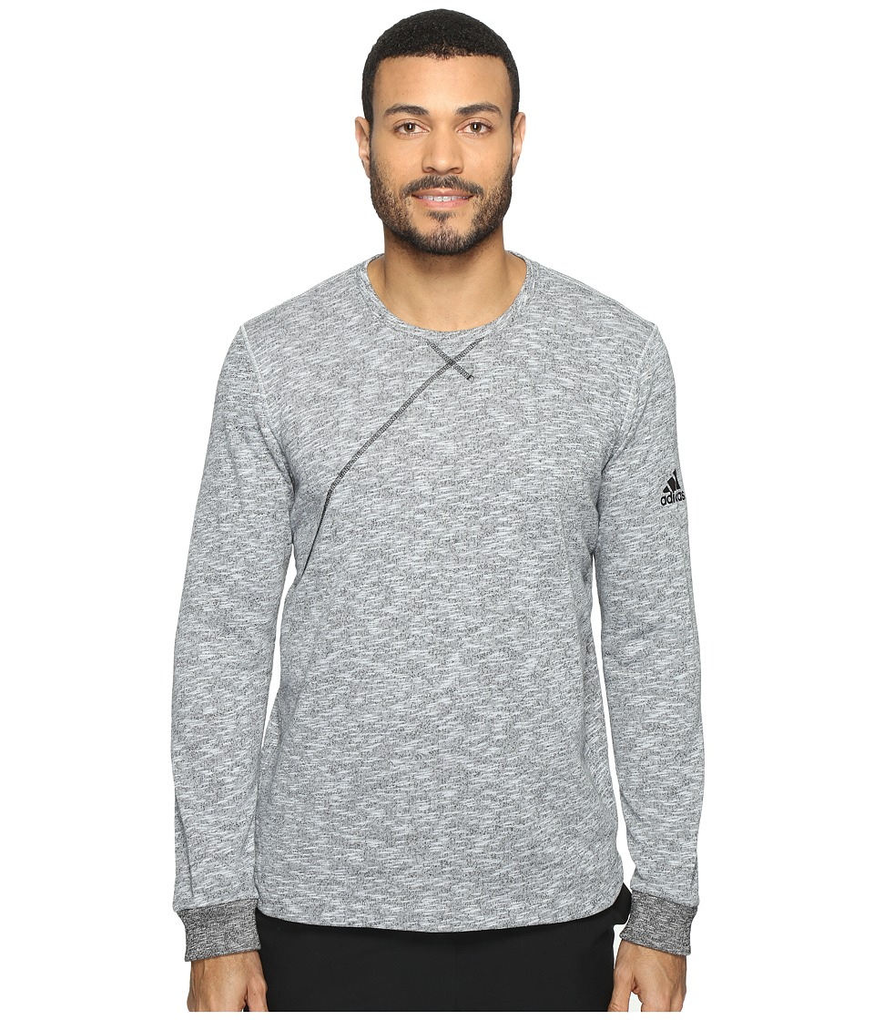 adidas - Cross Up Long Sleeve Tee (Light Grey Heather Solid Grey/Black) Men's Long Sleeve Pullover