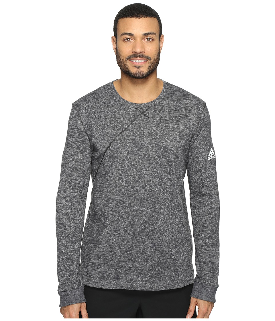 adidas - Cross Up Long Sleeve Tee (Utility Black/Medium Grey Heather Solid Grey) Men's Long Sleeve Pullover