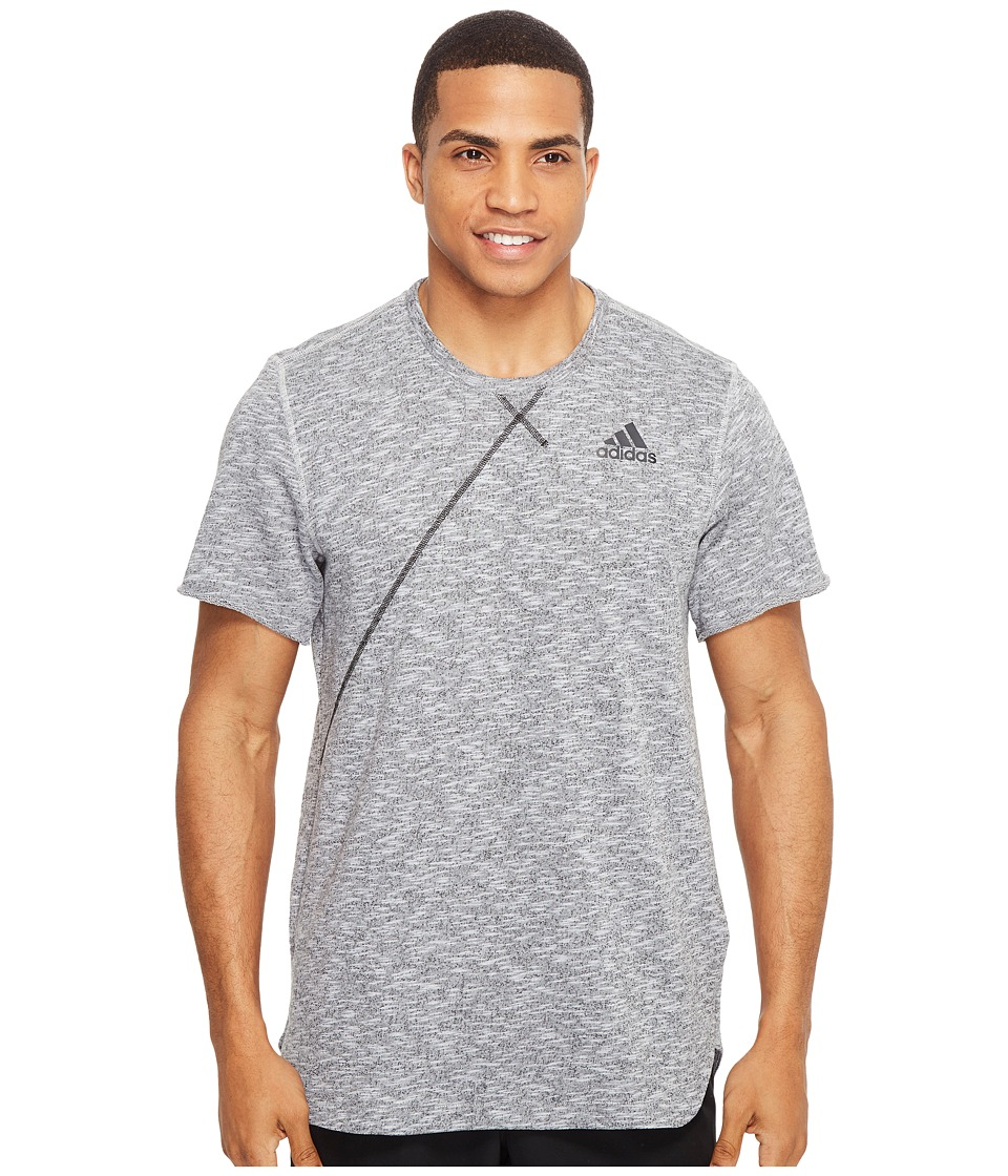 adidas - Cross Up Tee (Light Grey Heather Solid Grey) Men's Short Sleeve Pullover