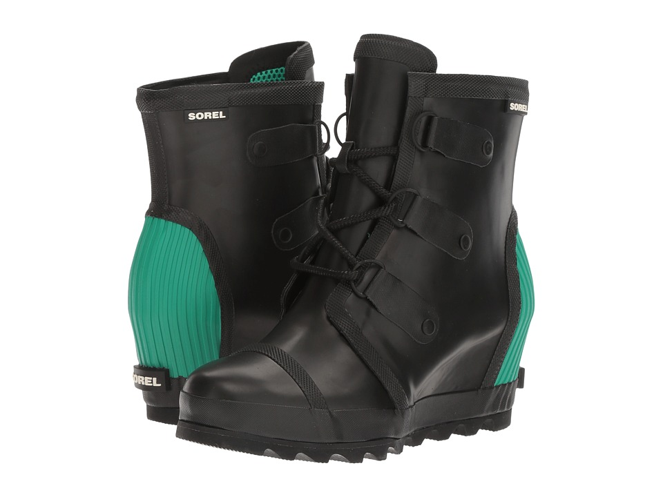 SOREL - Joan Rain Wedge (Black/Bright Emerald) Women's Rain Boots