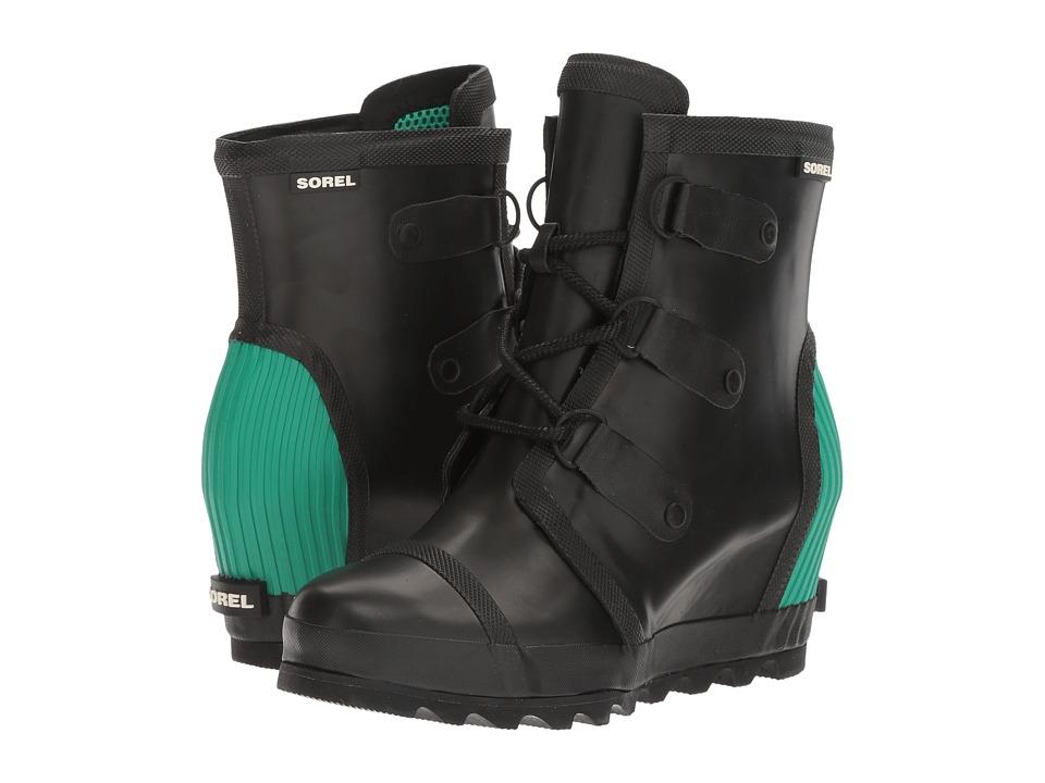SOREL - Joan Rain Wedge (Black/Bright Emerald) Women's Rain Boots