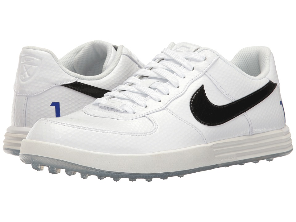 Nike Golf - Lunar Force 1 (White/Black/Paramount Blue) Men's Golf Shoes
