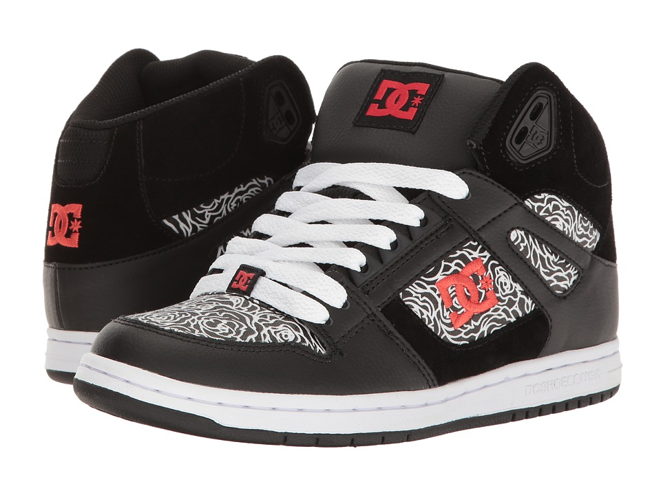 DC - Rebound High SE (Black/Red/White) Women's Skate Shoes