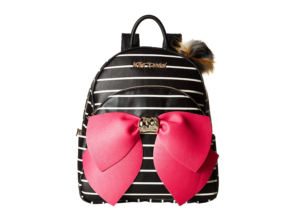 Betsey Johnson - Bow Backpack (Black/Stripe) Backpack Bags