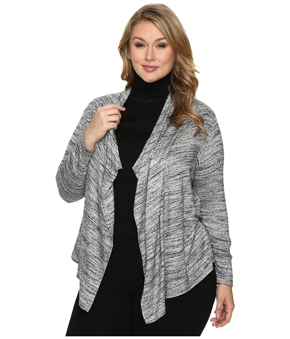 Karen Kane Plus - Plus Size Drape Cardigan (Light Gray) Women's Sweater