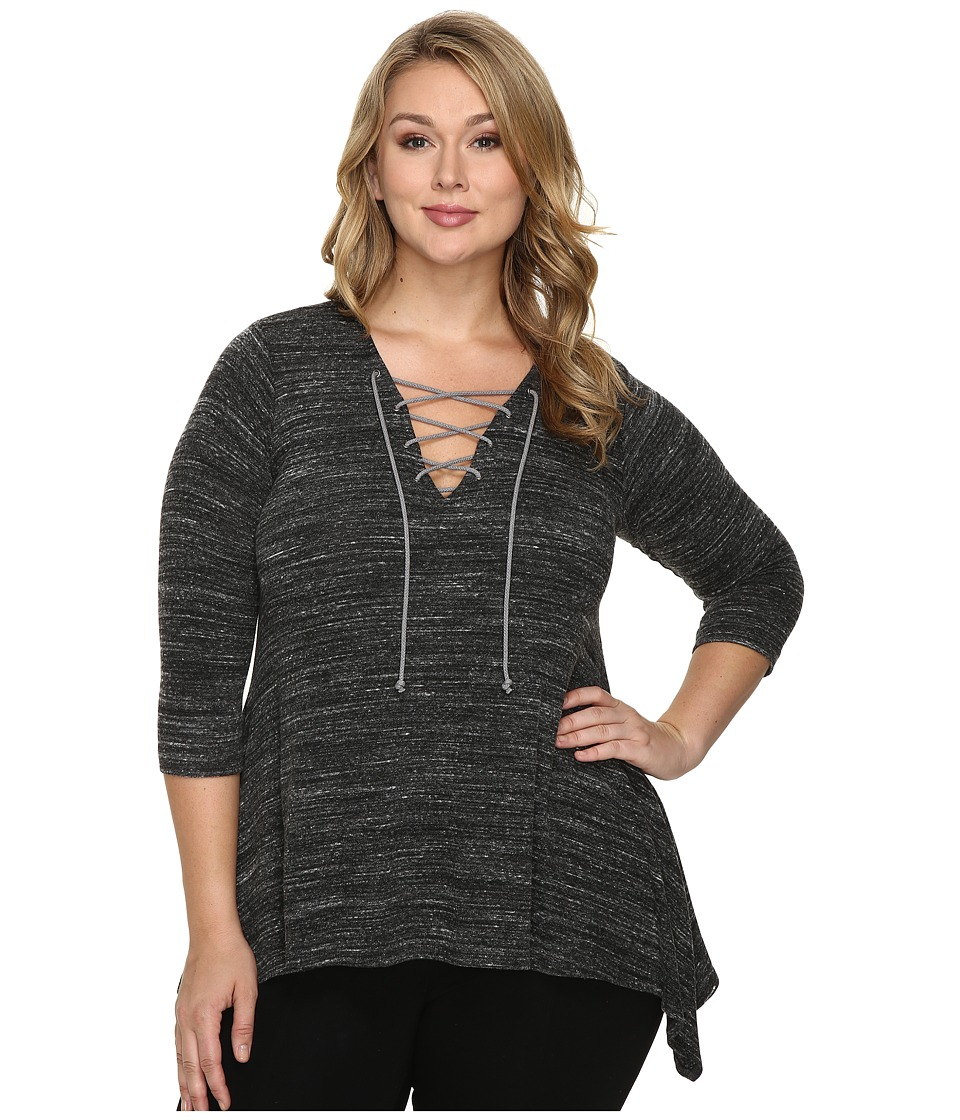 Karen Kane Plus - Plus Size Lace-Up Handkerchief Top (Charcoal) Women's Clothing