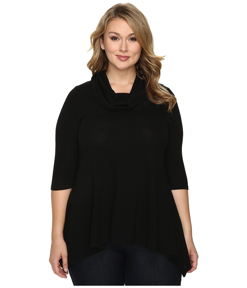 Karen Kane Plus - Plus Size Cowl Neck Handkerchief Top (Black) Women's Clothing