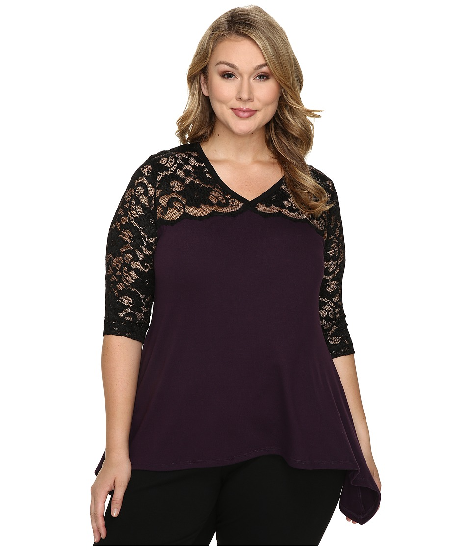Karen Kane Plus - Plus Size Lace Yoke Flare Top (Black/Eggplant) Women's Clothing