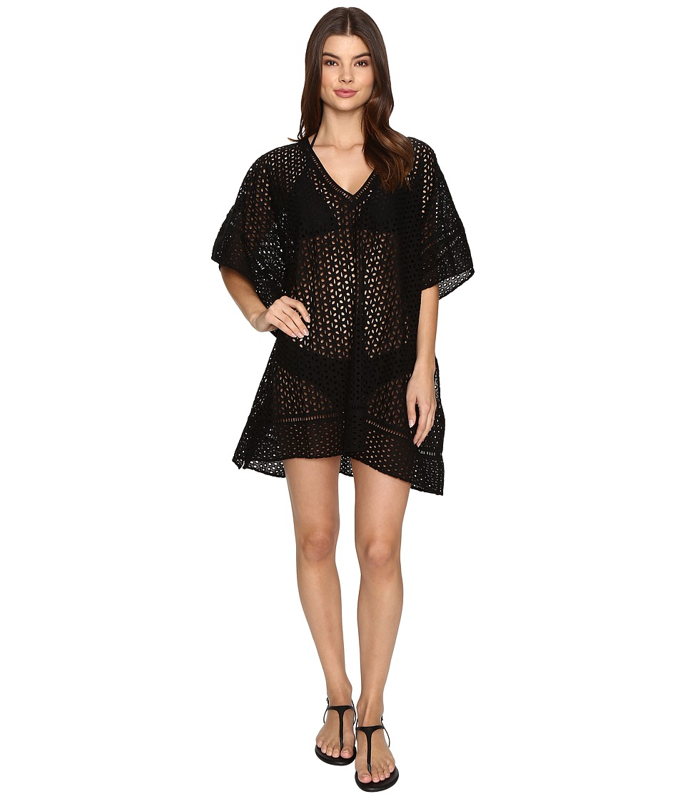 JETS by Jessika Allen - Pure Embroidered V-Neck Kaftan Cover-Up (Black) Women's Swimwear