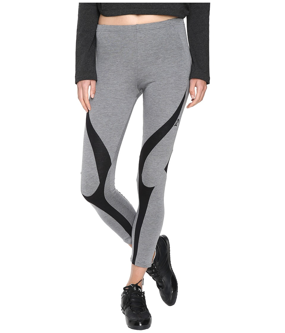 adidas Y-3 by Yohji Yamamoto - Jersey Leggings (Mid Grey Heather/Black) Women's Casual Pants