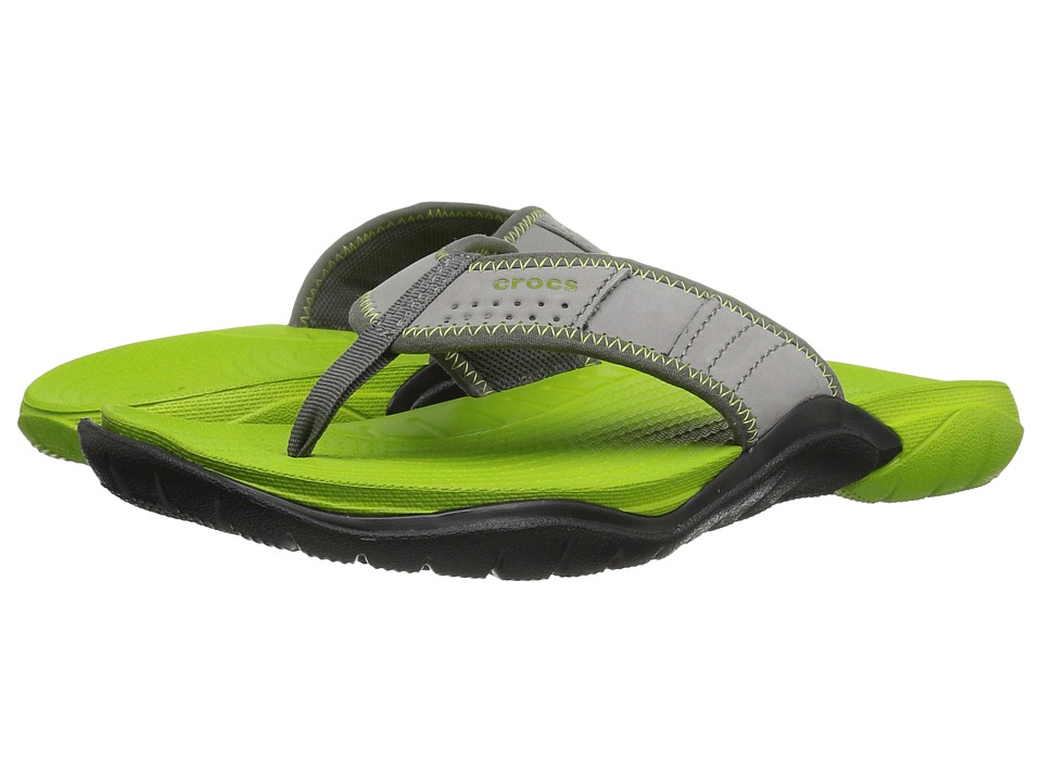 Crocs - Swiftwater Flip (Graphite/Volt Green) Men's Slide Shoes