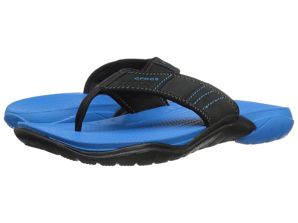 Crocs - Swiftwater Flip (Ocean/Black) Men's Slide Shoes
